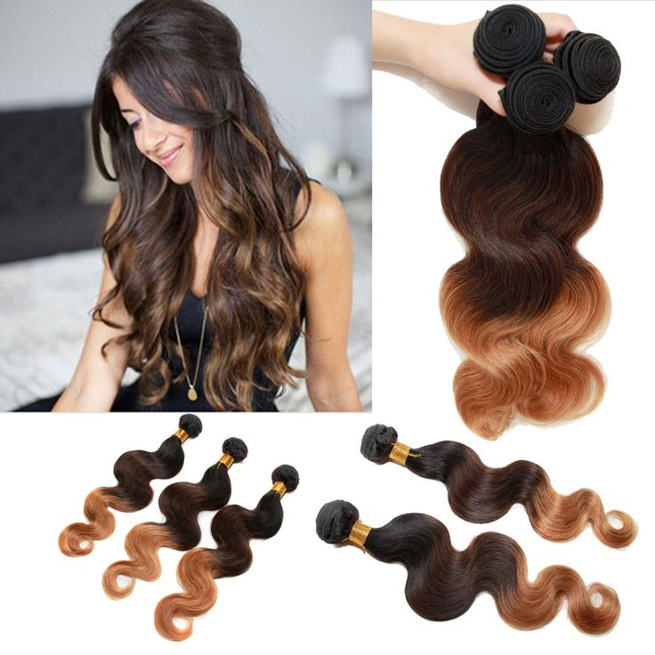 """12""""-26"""" HOT SELLING Ombre 1B/4/27# Brazilian Human Hair  Extension 3 Bundles HOT #Wigiss #HairExtension"""