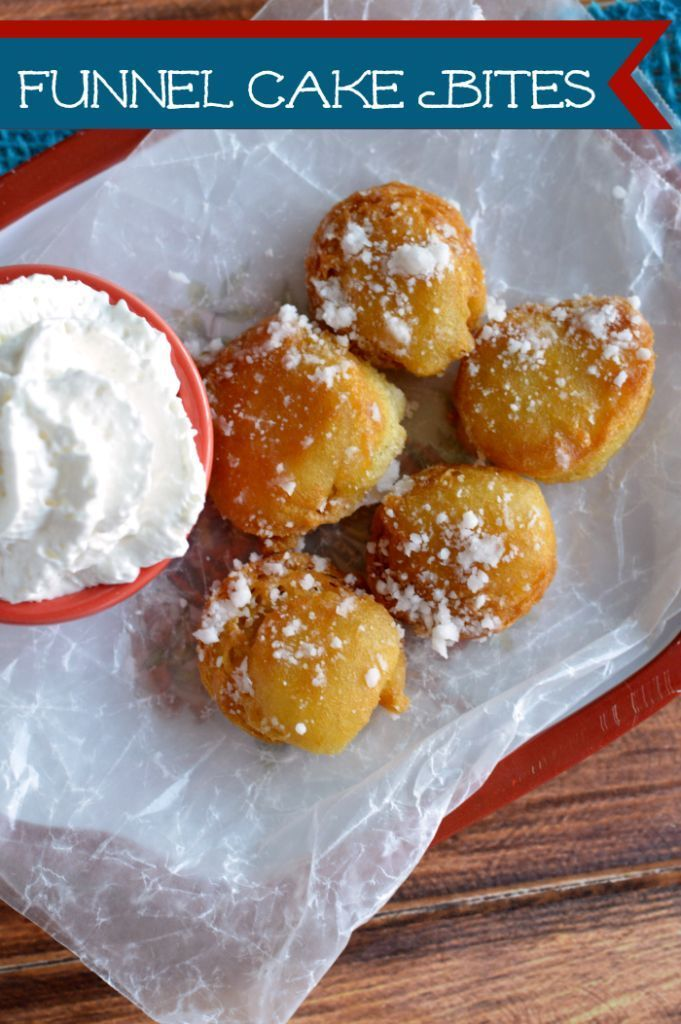 Super yummy funnel cake bites! Bring the fair to your home!