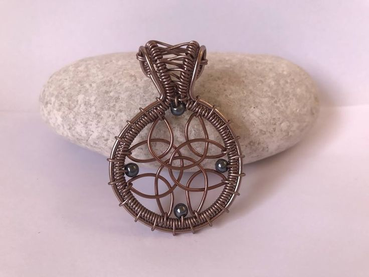 Celtic wire wrapped jewelry, pendant, bracelet and earring TUTORIAL. 5 celtic signs, knots designs in one collection. Wire wrapped pendant, brown pendant with small beads