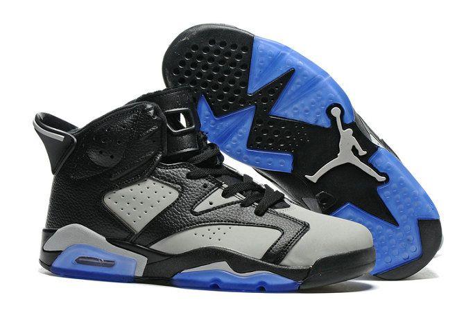 Authentic Grey Black Blue Basketball Shoe Air Jordans 6
