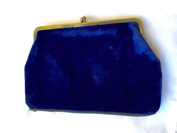 VINTAGE ROYAL BLUE Velvet Evening Purse gold zipper by StudioVintage on Etsy