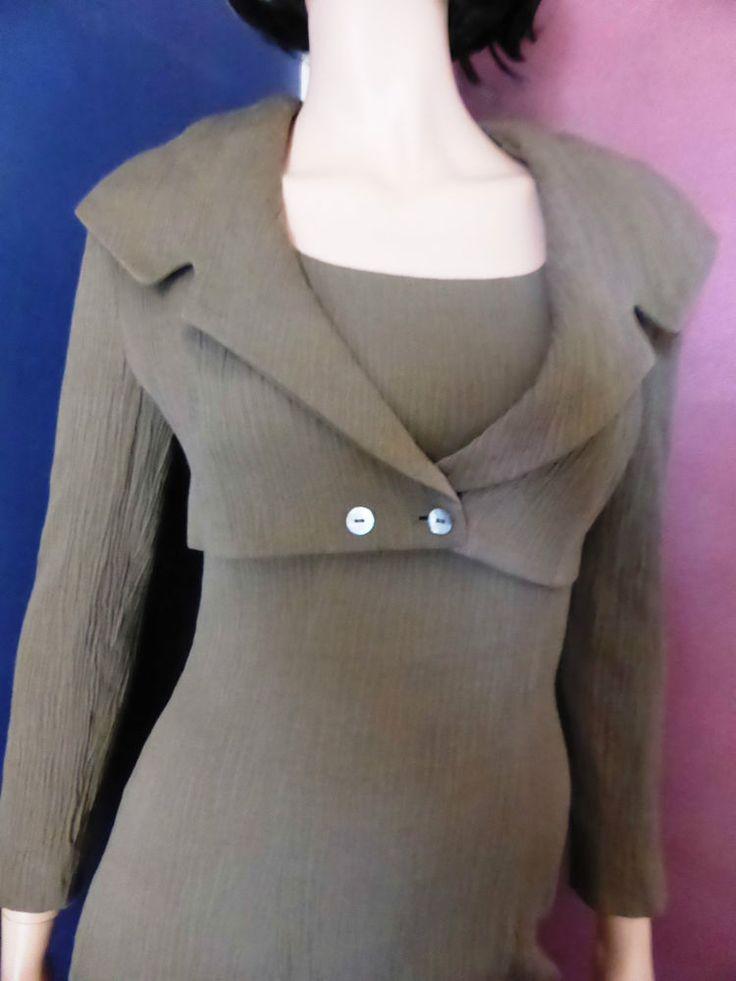 Seranada Olive Green Sleeveless Dress and Full Collared Bolero Size 8-10