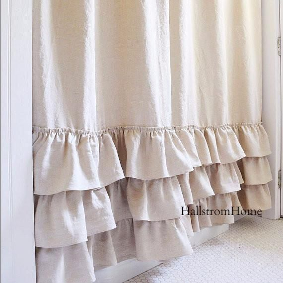 Make your bathroom feel inviting and luxurious with this beautiful handmade shower curtain. Natural flax linen with ruffles give this shower curtain a soft shabby chic style. This is a standard length