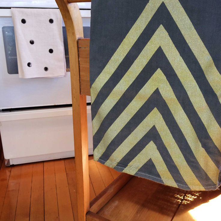 Gold Arrow Hand printed Tea Stained tea towel on Pre-washed 55% Linen 45% Rayon fabric