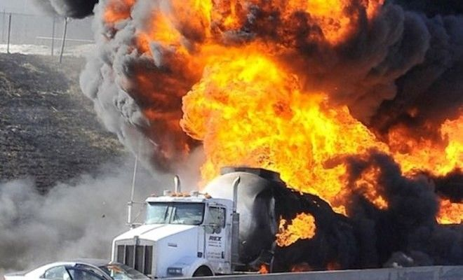 Truck Carrying Fuel Crashes And Explodes Into A Giant Skin Melting Fireball