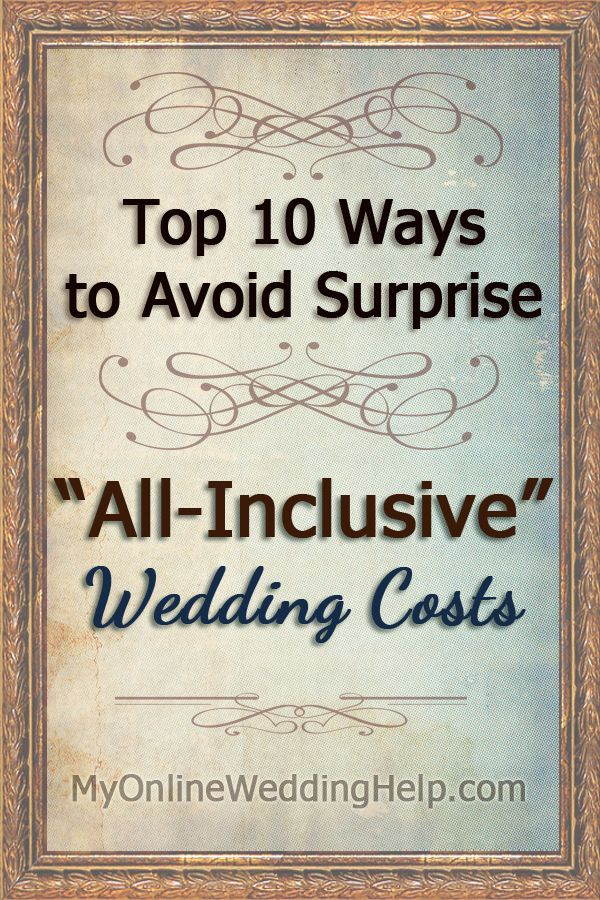 "One would think ""all"" means--well, all-- when buying an all inclusive wedding package. Unfortunately, the definition varies for each venue. If you are not"
