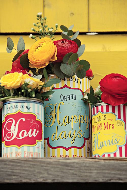 "Cover tin cans with personalized ""vintage"" labels. These will go great in my antique kitchen"