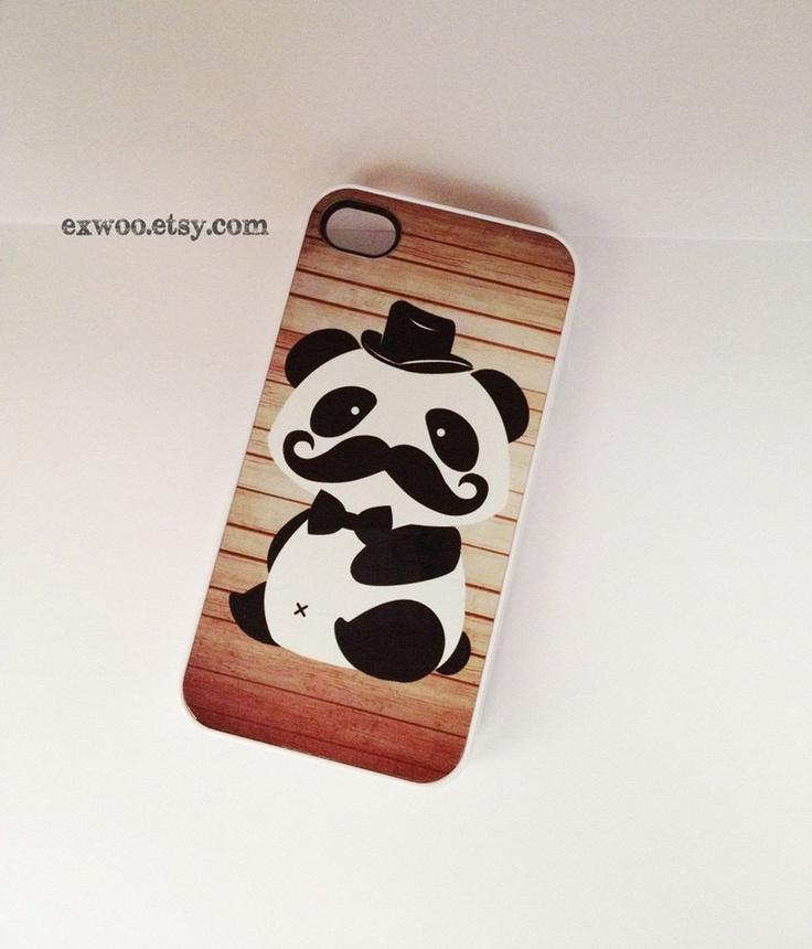 Mr.Panda Mustache  iPhone 4 Case , iPhone case , iPhone 4s Case , iPhone 4 Cover , Hard iPhone 4s Case. $15.00, via Etsy.