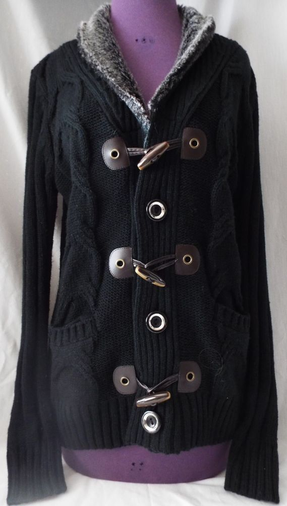 0142366a5f5 Black Cable Knit Cardigan Sweater Faux Fur Collar Toggle Closures Womens  Large  fashion  clothing  shoes  accessories  womensclothing  sweaters  (ebay link)