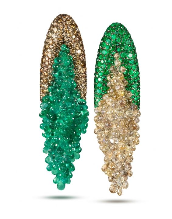 """Di Grisogono """"Mismatched"""" Earrings in diamond and emerald"""