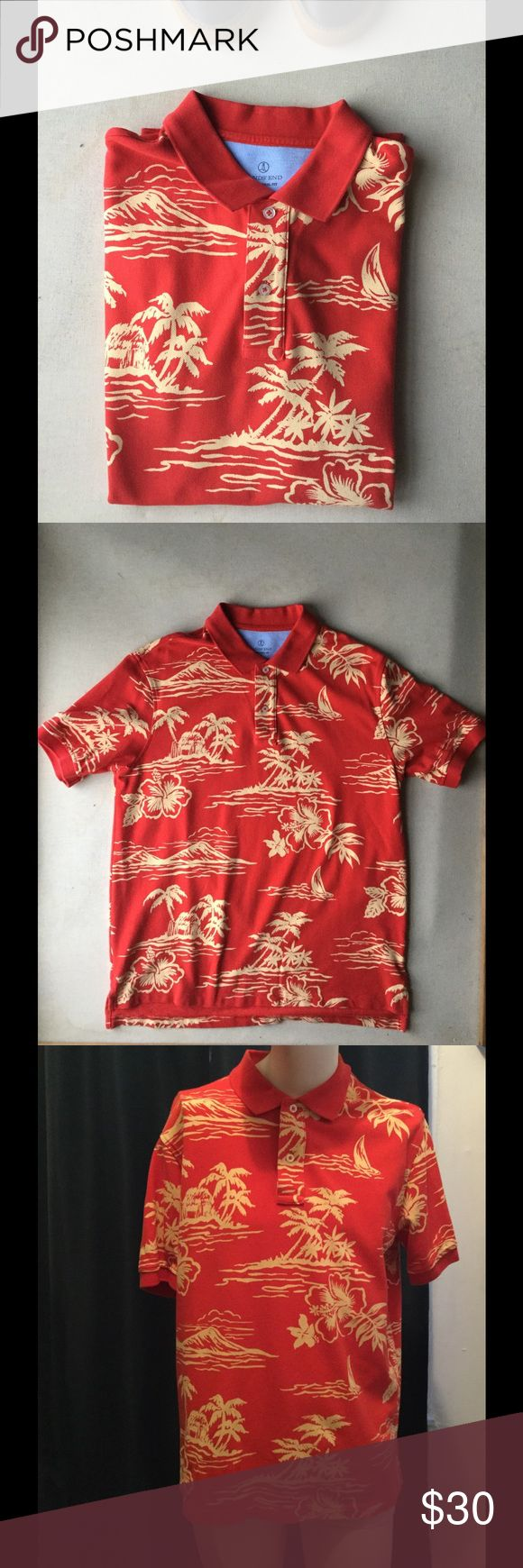 Land Ends Paradise Polo size Large This Land ends paradise polo is a great one. With pattern of what you will see on the island. This polo is just on stop away from relaxation and freedom. Lands' End Shirts Polos