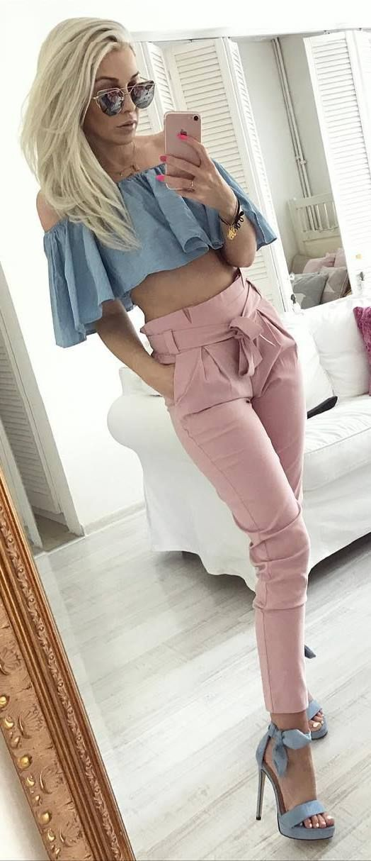 blush outfit top + pants + heels