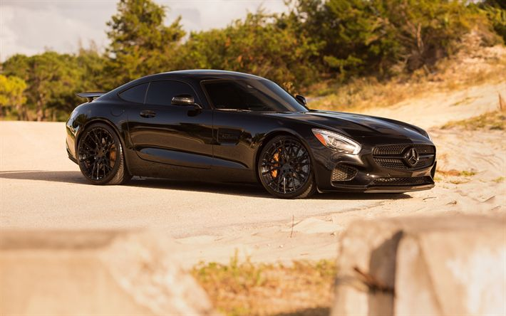 Download wallpapers Mercedes-AMG GT S, 2017, black sports coupe, tuning gts, black wheels, Niche Wheels, Mercedes