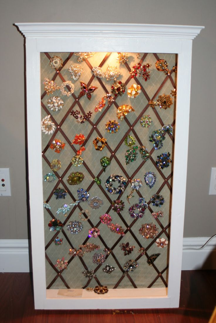 Vintage Brooch Display | The completed display case- still need to hang it on the wall!