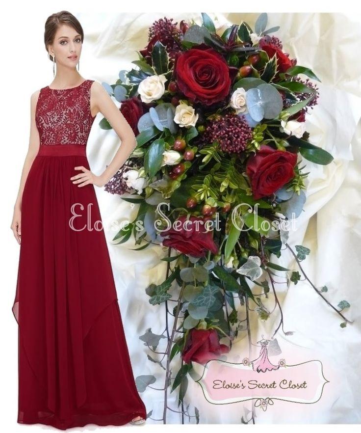 Dark Red and White Bridesmaids Dresses