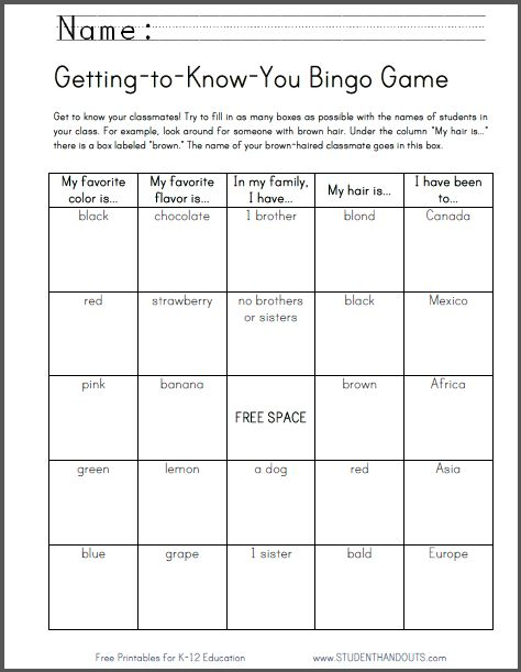 "Aimed at kids in grades 1-6. This is a great game for getting kids acquainted at the beginning of the school year. Option 1: Have kids complete the board, and the student with the most completed squares wins. Option 2: Have students fill every square, then play a game of bingo, using kids' names (instead of ""B12,"" etc.)."