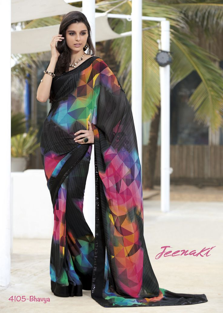 Multicolor Black Printed Georgette Party Wear Saree With Fancy Fabric Blouse at Lalgulal.com To Order :- http://goo.gl/nVGTCJ To Order you Call or Whatsapp us on +91-95121-50402 COD & Free Shipping Available only in India