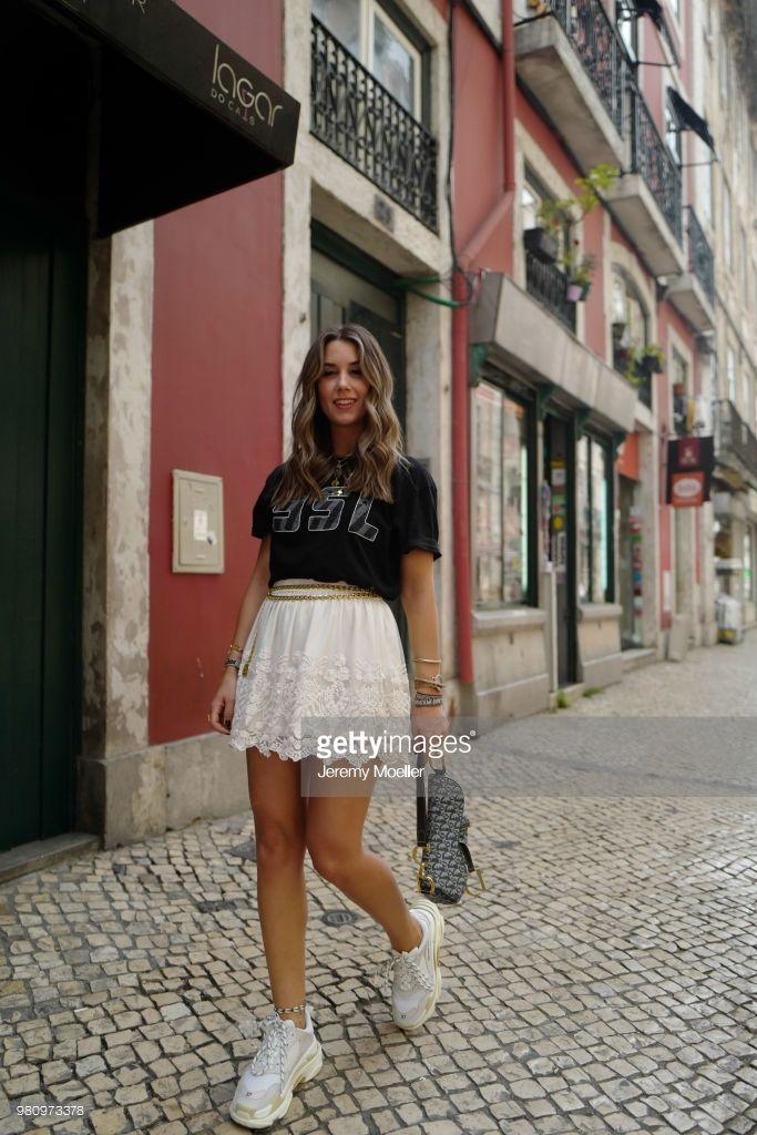 more photos f054f 3c9fe Janina Pfau (Janina who) wearing a YSL shirt, Chanel belt, Dior Saddle bag,  Balenciaga Triple S shoes and a Chloe ring on June 18, 2018 in Lisbon,  Portugal.