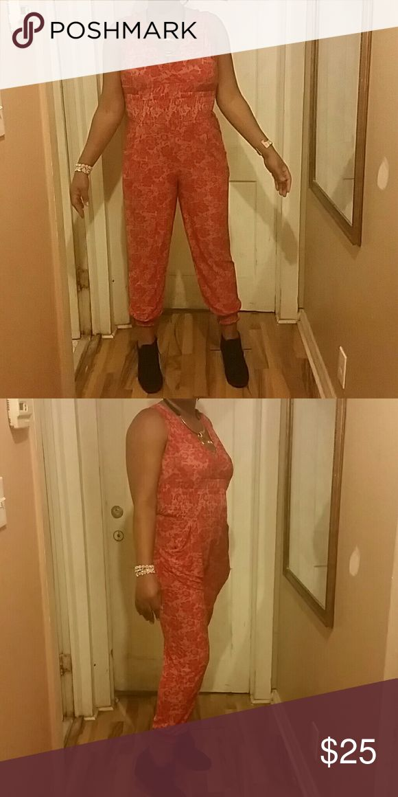 Comfy red jumpsuit Redand cream jumpsuit with pockets Pants Jumpsuits & Rompers