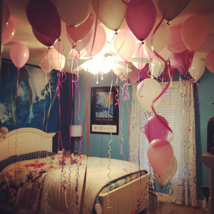 Decorated room with balloons on 16th birthday for Room decor ideas for husband birthday