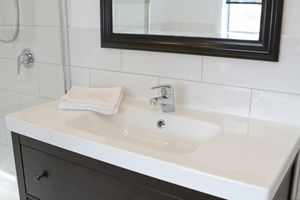 Bathroom Vanity Makeover | Stretcher.com - A DIY update of your bathroom vanity for little cash.