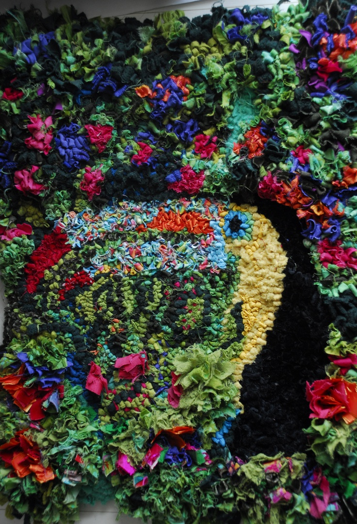 Toucan Rag Rug , textile art , wall hanging , Upcycled art .