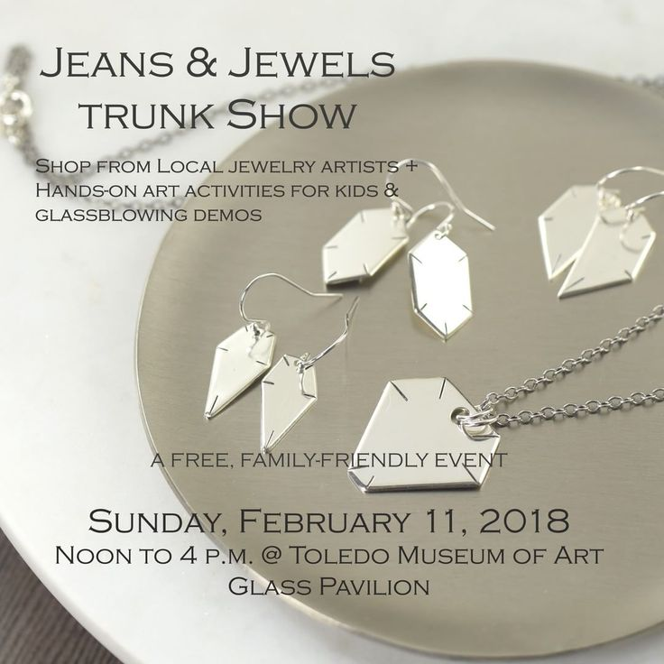 Come out and shop the Jeans & Jewels Trunk show at the Toledo Museum of Art Glass Pavilion on Sunday, Feb. 11 from noon-4pm. Just in time for Valentine's day! This is a kid friendly event with hands-on activities plus free glassblowing demos. Shop South Paw Studios jewelry along with other talented Toledo jewelry artists. southpawonline.com #southpawstudios