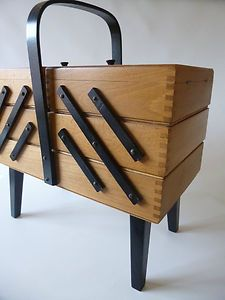 Vintage Cantilever Sewing Box Oak-Wooden-Retro