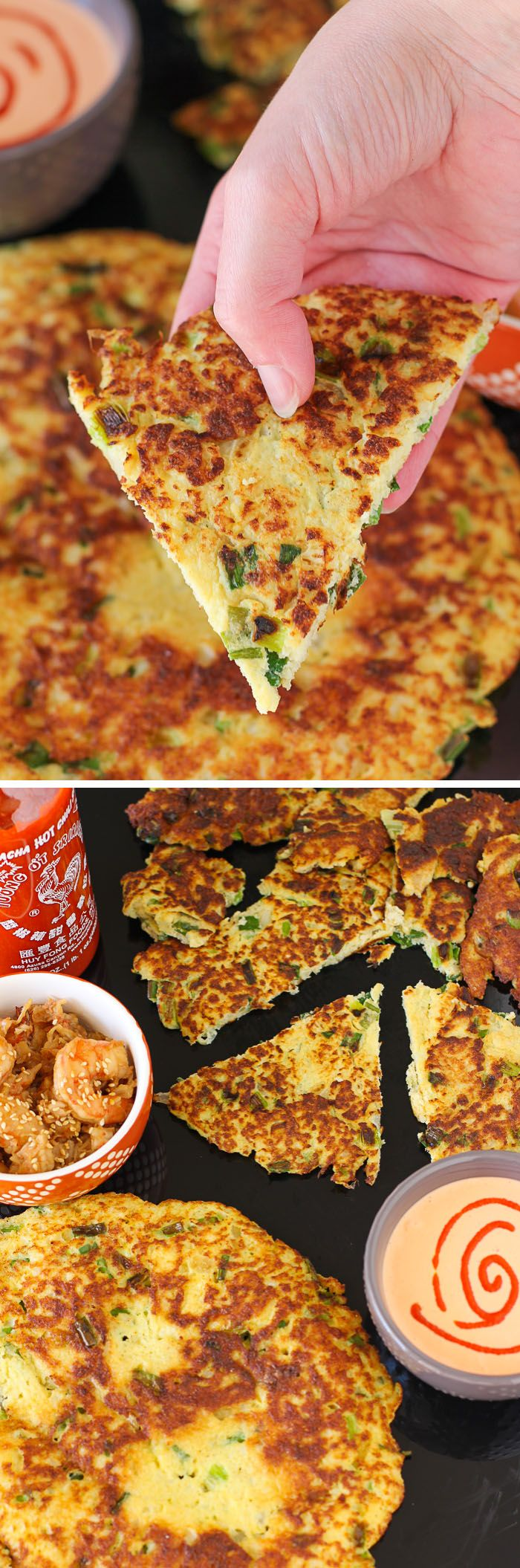 Paleo Scallion Pancake: An AWESOME delicious and healthy recipe! So good when served with sesame shrimp and Sriracha aioli. Must-make! #paleo #grainfree #glutenfree