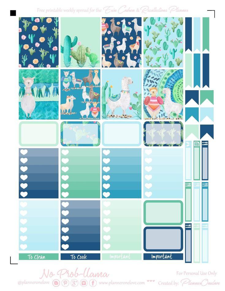 Free Printable Llama & Cactus Planner Stickers + Bonus Deco Sheet from Planner Onelove
