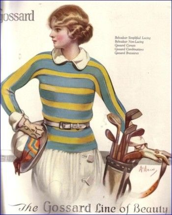 The sweater and pleated skirt continued to be a popular choice for golf into the 1920s.