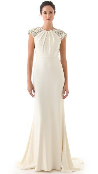Badgley Mischka Collection Deco Cap Sleeve Gown: #weddingdress #elegant
