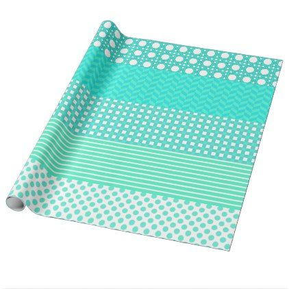 Pastel Turquoise Pattern Mix Wrapping Paper - craft supplies diy custom design supply special