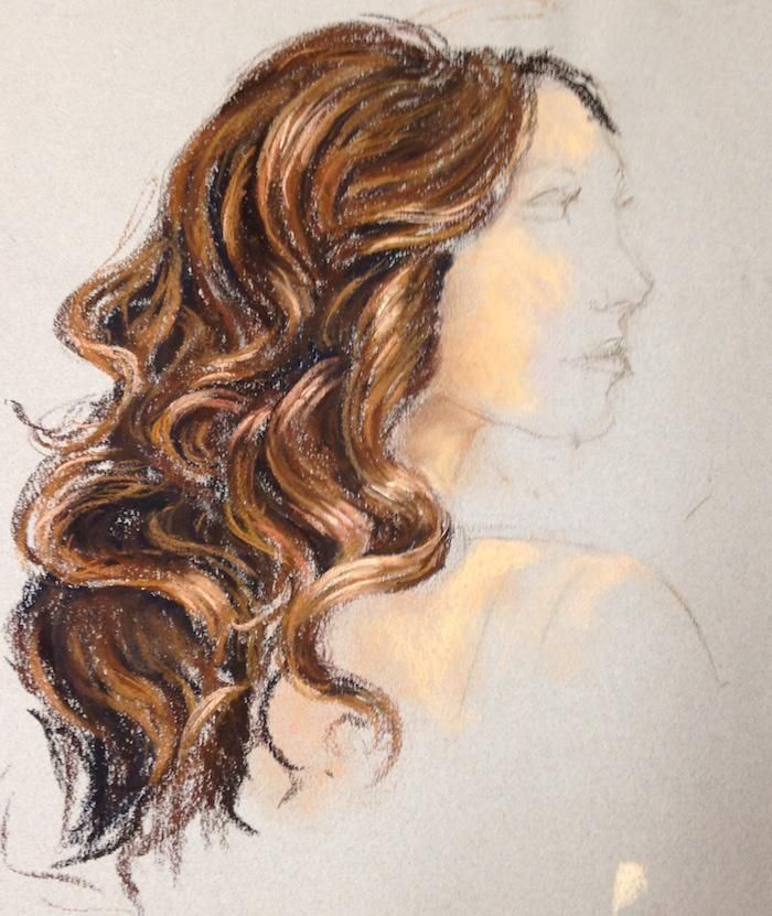 pastel portraits - curly