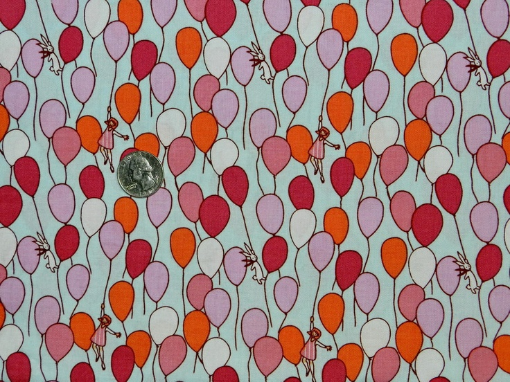 Children at Play Girl with Balloon - Fabric By The Yard