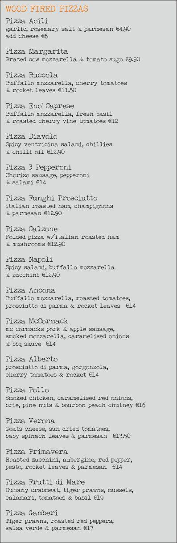 Pizza Menu June 2014 #eatateno  www.eno.ie