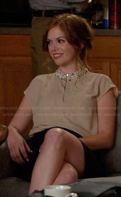 Molly (Dreama Walker)'s beige keyhole blouse with embellished collar on New Girl.  Outfit Details: http://wornontv.net/19594/ #NewGirl #Fox