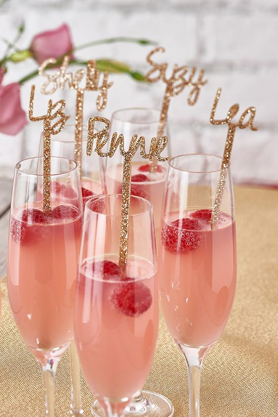 Bachelorette party favor idea - Personalized, glitter drink stirs {Courtesy of Etsy}