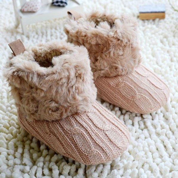 """Infant Baby Crochet/Knit Boots Booties Toddler Girl Winter Snow Crib Shoes """"FREE SHIPPING"""""""
