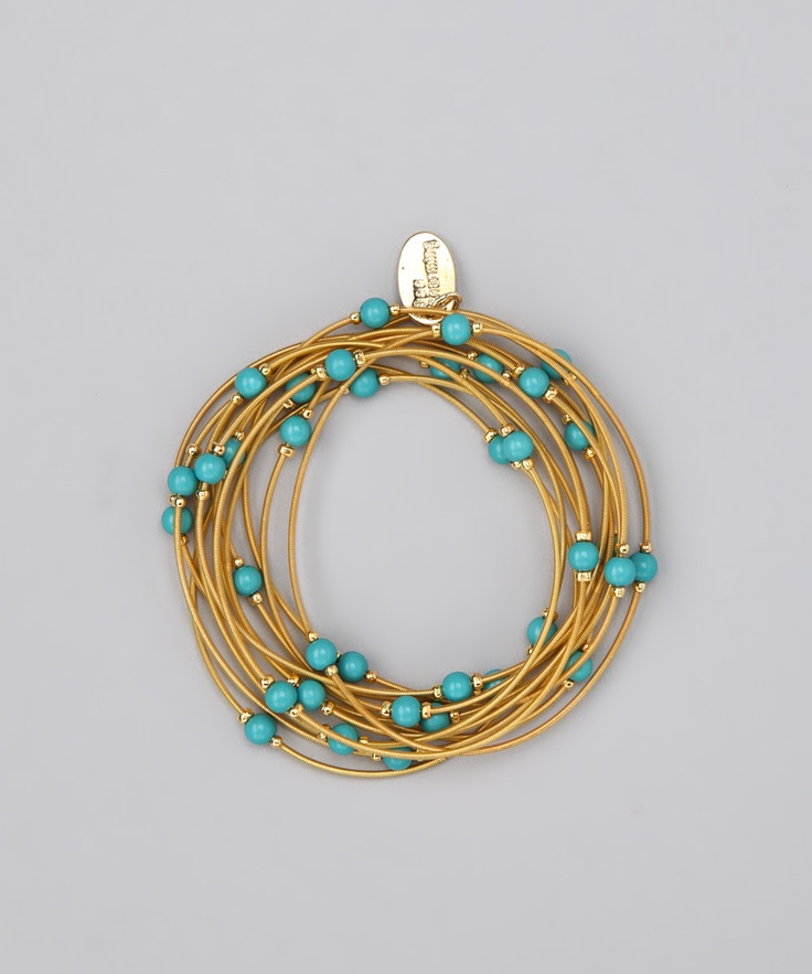 Gold & Turquoise Piano Wire Stretch Bracelet Set