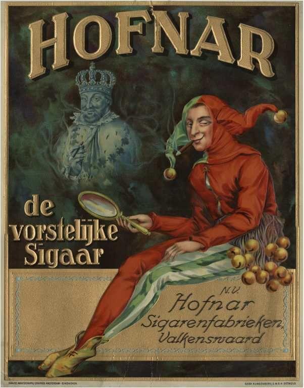 Reclameplaat van de N.V. Hofnar Sigarenfabrieken Valkenswaard.