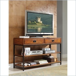 Home Styles Modern Craftsman Media Console -  Reminiscent of the American Craftsman Era with understated style and simplicity, the Modern Craftsman Entertainment Collection marries a traditional, multi-step distressed Oak finish on poplar solids and oak veneers with new age, brown metal accents. With two storage drawers and two fixed shelves, the Modern Craftsman TV Stand can function as a media console or as a larger console table.    Features: Media console Modern Craftsman Distressed oak…