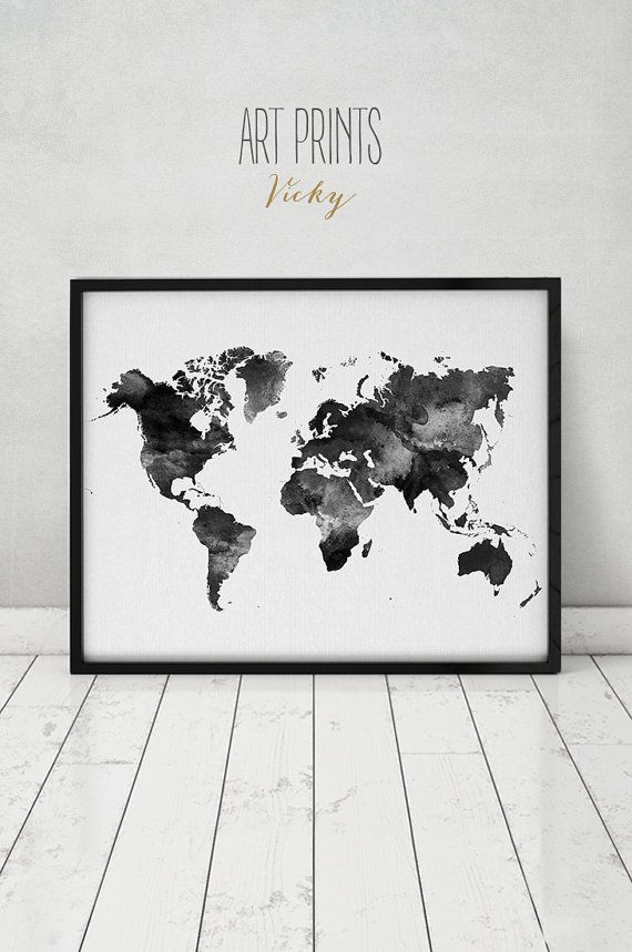 World map watercolor print, Travel Map, Large world map, minimalist world map, black & white, watercolor poster, home decor, ArtPrintsVicky.