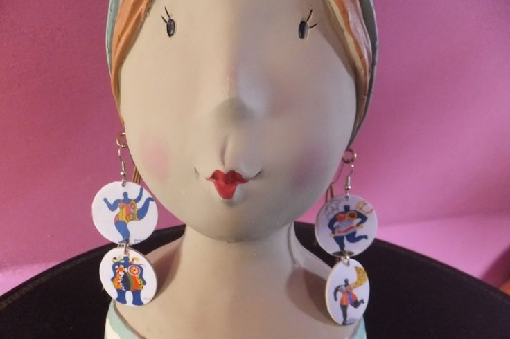 """Boucles d'oreille """" double"""" en papier et carton recyclés : Boucles d'oreille par bijoux-zette"""