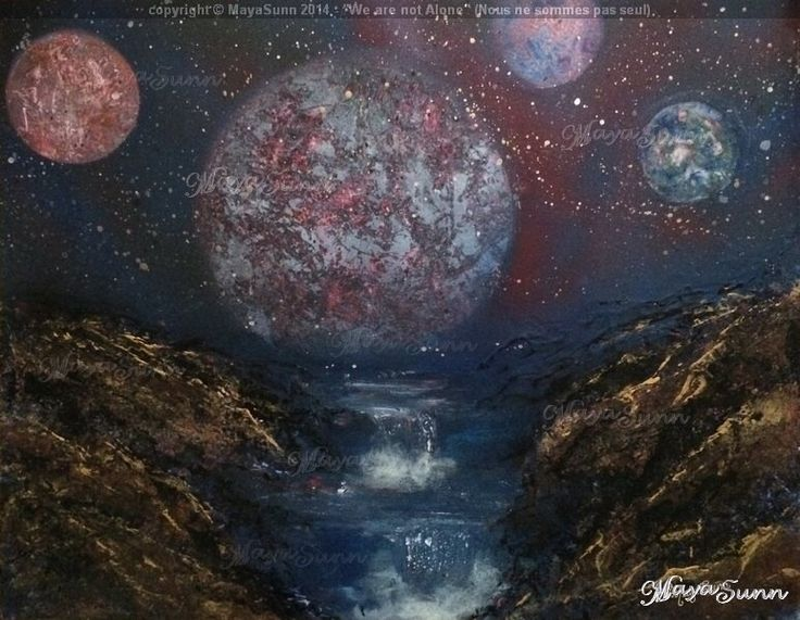 Planets moons other world waterfalls