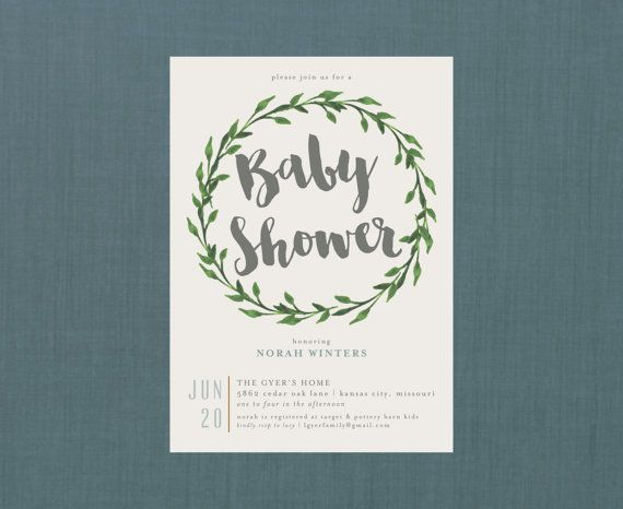Whimsical Botanical Wreath Baby Shower Invite // by blacklabstudio