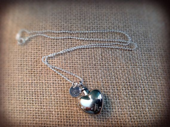 Urn Memorial necklace silver heart personalized locket urn for pet cremation ashes or hair.