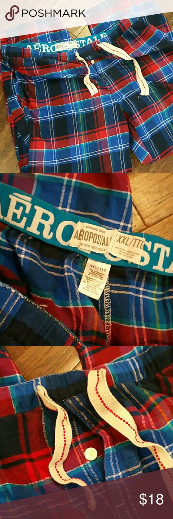 AEROPOSTALE MEN'S PANTS A real nice never worn but washed pair of pants for sleeping or lounging in blue and red soft flannel drawstring tie 1 button fly. Aeropostale Pants Sweatpants & Joggers