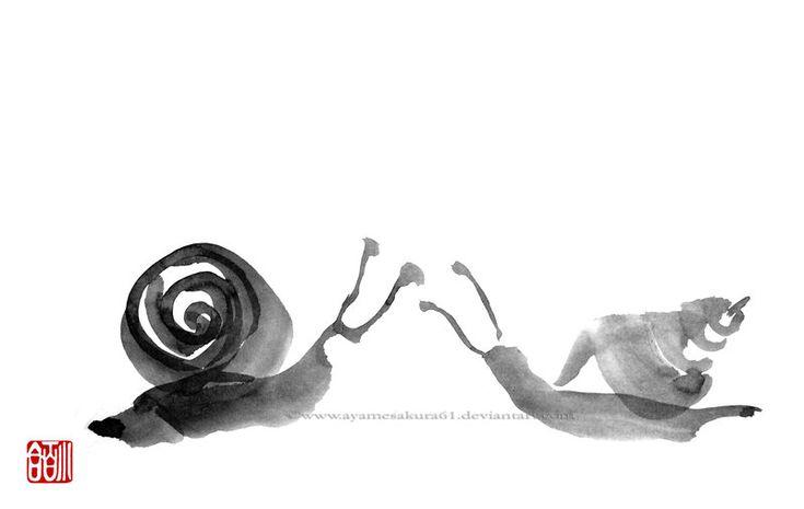 Snails - sumi-e by SayuriMVRomei.deviantart.com on @deviantART