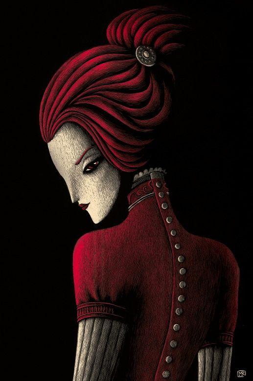 """Ilustración de Meritxell Ribas Puigmal para el libro """"Vampiros"""" de Random House Mondadori, relato de """"La muerta enamorada"""".  """"...su mirada tenía música, y las frases que me enviaban sus ojos resonaban en el fondo de mi corazón como si una boca invisible las hubiera susurrado en mi alma... """""""